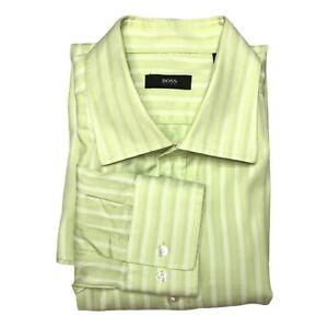 Hugo Boss Long Sleeve Dress Shirt Men's 17 1/2 (36/37) GREEN Striped