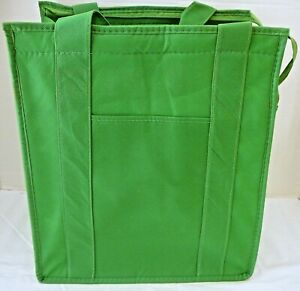 INSULATED REUSABLE GROCERY BAG - SOLID LIME GREEN - Thermal Zipper Shopping Tote