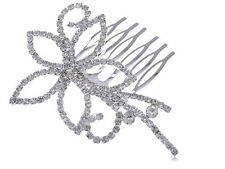 Womens Silver Genuine Rhinestone Encrusted Flower Swirl Fashion Bridal Hair Comb