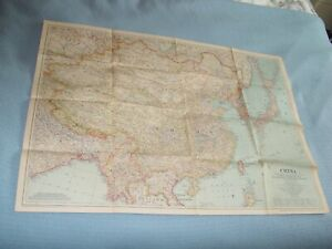 Vintage Wall Map of China National Geographic 1945 With Boundaries as of 1939