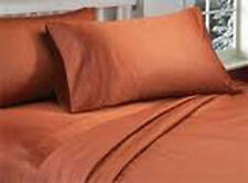 QUEEN SIZE BRICK RED SOLID BED SHEET SET 1000 THREAD COUNT 100% EGYPTIAN COTTON