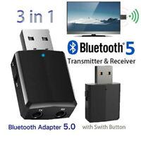 USB Bluetooth 5.0 Sender Empfänger 3 in 1 EDR Adapter 3.5mm AUX für TV PC-