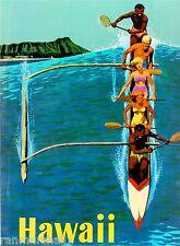 Hawaii Hawaiian Island Outrigger Oahu Ocean Vintage Travel Advertisement Poster