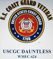 USCGC DAUNTLESS  WMEC-624* CUTTER  U.S.COAST GUARD VETERAN EMBLEM*SHIRT