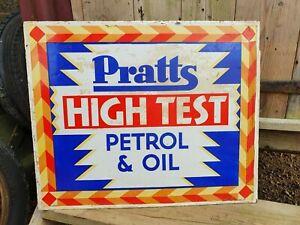 Vintage Pratts High Test Petrol Oil Enamel Advertising Sign Automobilia Motoring