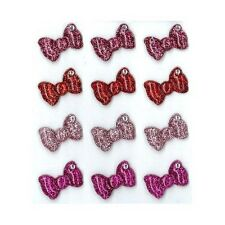 BOWS Bow Tie Hair Red Glitter Crystal Cabochons Jolee's Stickers