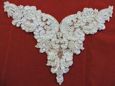 YOKE NECKLINE BODICE PEARL WEDDING BRIDAL SEQUIN BEADED APPLIQUE 3505-WD