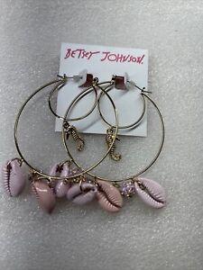 Betsey Johnson Surf Maid Sea Horse Sea Shell Hoop Drop Earrings Nwt Rare