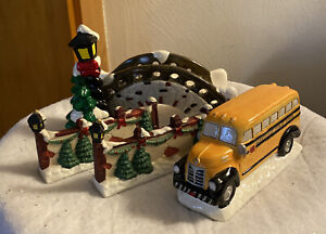 Porcelain Holiday Village Accents - School Bus, Walking bridge, Two fences