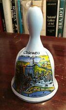 Souvenir Bell, porcelain collectible, Chicago downtown map, multi color process