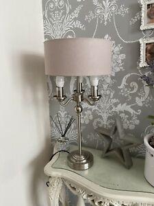 Beautiful Traditional Style 3 Arm Table Lamp Silver Satin Metal Grey Shade