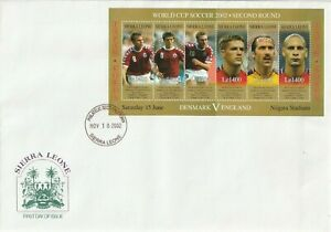 SIERRA LEONE 18 NOVEMBER 2002 WORLD CUP SOUVENIR SHEET O/S FIRST DAY COVER