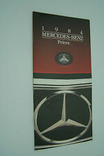 1984 mercedes owners price card brochure 380sl 300cd parts w107 w123 w126