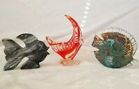 Angelfish Lot of 3 Figures Murano Ashtray Carved Marble Sommerso Art Glass