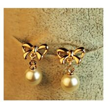 Gold Plated Bow & Pearl Stud Earrings Jewellery Accessories UK SELLER ER17