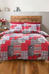 Alpine Patchwork Heart Flannelette Duvet Sets Single Double King Size Bedding
