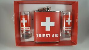 Hip Flask and Two Tall Shot Glasses Wink First Aid Set Great Gift New in Box
