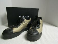 Chanel Womens Gold and Black Athletic Shoes Size 37  w/box