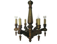 Small Hand Carved Wooden Chandelier Ornate 6 arm Country Farmhouse Barn Style