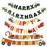 Happy Birthday Banner Trucks Excavator Cupcake Topper Party Decrorations