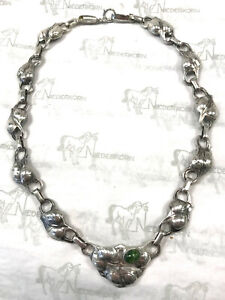 """KALO Sterling Silver Puffy Necklace Stone Set About 16"""""""