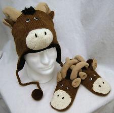 LONGHORN HAT & MITTENS SET knit ADULT puppet LINED ram mountain goat MENS WOMENS