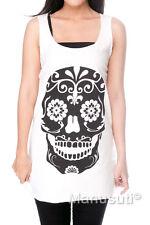 Skull Gothic Day of The Dead Skeleton WOMEN TANK TOP T-SHIRT Vest Dress Size S M