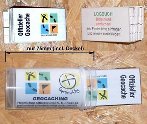 Geocaching- Dose 75mm Micro + Logbuch mit 96 Logs