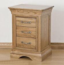 Lourdes solid oak french furniture three drawer bedside cabinet stand unit
