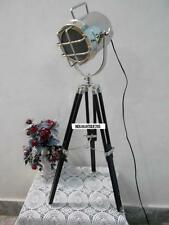 Nautical Table Lamp Focus Spotlight Wooden Tripod Vintage Chrome Studio Spotlig