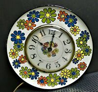 Vintage  Spartus Metal Multi Color Daisy Wall Clock Flower  Electric Not Working