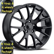 "22"" Tires Gloss Black Hellcat Style Wheels Fits 2002 up Dodge Ram 1500 Rim Set"