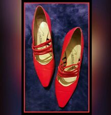 VTG CARESSA WOMENS SZ 7M RED LEATHER LOW HEELED PUMP HIGH HEEL SHOE FROM SPAIN