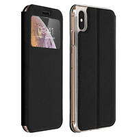 Window flip case, flip wallet case with stand for Apple iPhone XS Max - Black