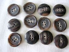 12 New Genuine Horn Buttons Rochester Brown Tiger Sewing Jackets Coats 45MMItaly