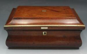 19C Victorian Rosewood Jewelry Sewing Necessaire Box w/ Brass & MOP Inlay