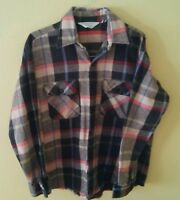 Clydesdale Vintage Heavy Flannel Long Sleeve Buffalo Plaid Shirt Large