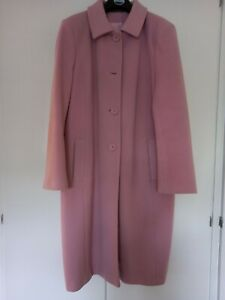 Pink Cashmere and Wool Long Coat, Size 14 Excellent Condition