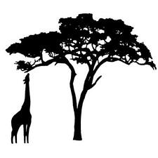 Giraffe and Acacia Tree UNMOUNTED rubber stamp, Africa animal Sweet Grass Stamps