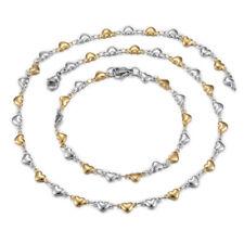 Stainless Steel Heart Set Necklace Bracelets Lobster Gold Silver 17.72 P719