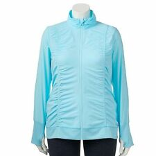 NEW WOMENS PLUS SIZE 3X FILA SPORT ICE BLUE RUCHED SIDES ZIP UP  JACKET