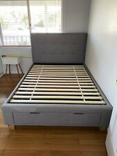 domayne Double Bed Halo Bed Frame with Storage