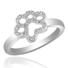 Simulated Diamond Beautiful Paw Print Ring 14K White Gold Over 0.15 Ct Round