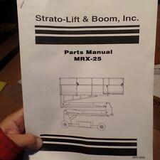 STRATO-LIFT & BOOM MRX-25 PARTS MANUAL, MRX-0894, STRATOLIFT, MRX0894, MRX25