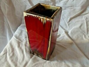 Contemporary  Ceramic Square Shaped Red Glazed Decorative Vase