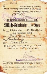 Militär-Fahrschein 3 Klasse- 1.WK.-1918