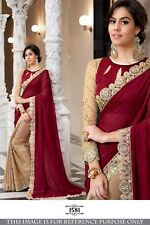 New red Saree with lace Indian Culture traditional Designer Wedding Party wear