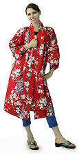 Kimono Ethnic Jacket Sakura Maiko Red #873 Happi Coat Novelty Gift Halloween