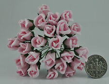 "Mulberry Paper Curly edge Hybrid Tea Rose bud Light Pink 9/16"" tiny handmade"