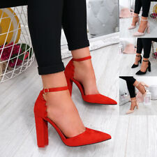WOMENS LADIES ANKLE STRAP RUFFLE POINTED PUMPS HIGH BLOCK HEEL PARTY SHOES SIZE